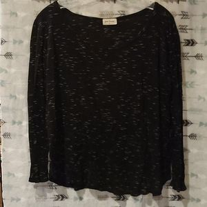 Spacedyed black and white long sleeve scoopneck XL